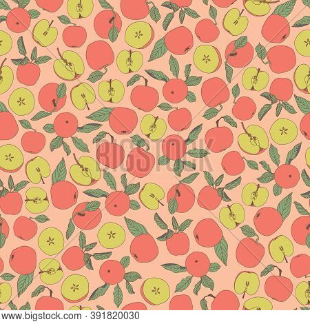 Vector Pink Green Yellow Apple Tossed Seamless Repeat Pattern