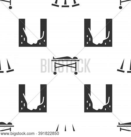 Set Metallic Nails, Dead Body In The Morgue And Cemetery Digged Grave Hole On Seamless Pattern. Vect