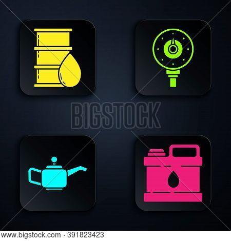 Set Canister For Motor Machine Oil, Barrel Oil, Canister For Motor Machine Oil And Motor Gas Gauge.