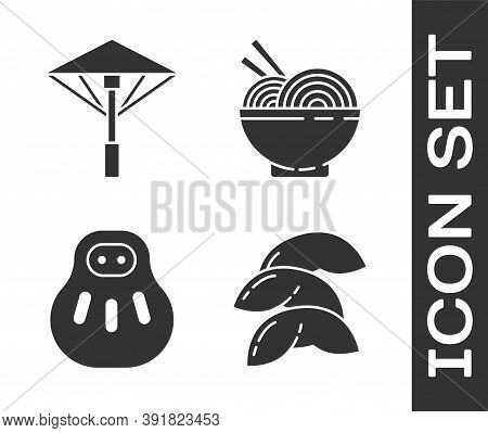 Set Chinese Fortune Cookie, Japanese Umbrella From The Sun, Maneki Neko Cat And Asian Noodles In Bow