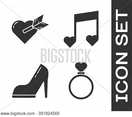Set Wedding Rings, Amour With Heart And Arrow, Woman Shoe With High Heel And Music Note, Tone With H