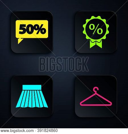 Set Hanger Wardrobe, Fifty Discount Percent Tag, Skirt And Discount Percent Tag. Black Square Button