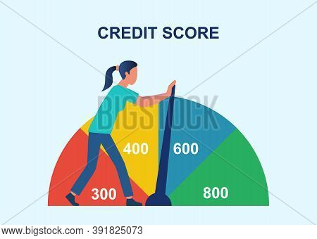 Credit Rating, Credit History Improvement, Credit Bureau Abstract Concept. Businesswoman Changing Pe