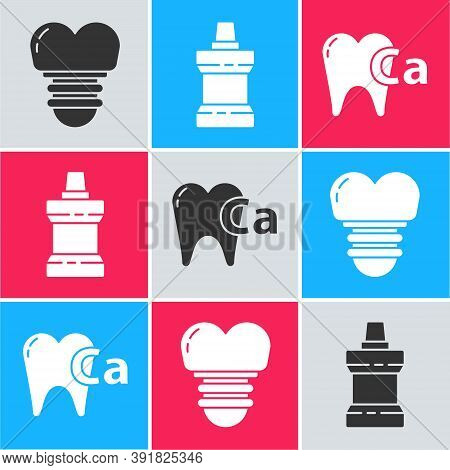 Set Dental Implant, Mouthwash Plastic Bottle And Calcium For Tooth Icon. Vector
