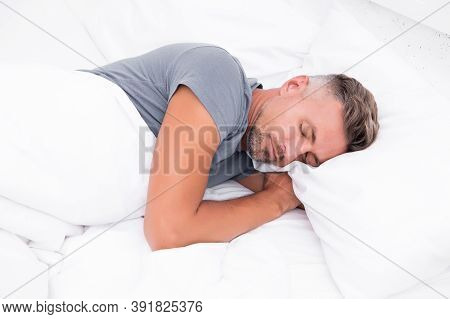 Sleeping Beauty. Man Handsome Guy Lay In Bed. Get Enough Amount Of Sleep Every Night. Tips Sleeping