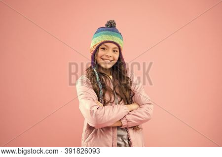 Clothes Shop. Trendy Stylish Accessory. Adorable Small Child Wear Knitted Accessory. Cute Little Gir