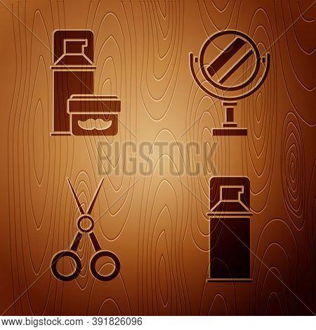 Set Shaving Gel Foam, Shaving Gel Foam, Scissors Hairdresser And Round Makeup Mirror On Wooden Backg