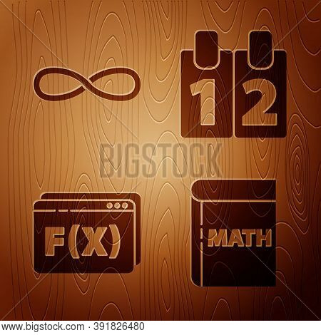 Set Book With Word Mathematics, Infinity, Function Mathematical Symbol And Calendar On Wooden Backgr