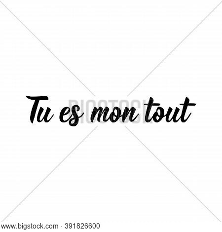 Tu Es Mon Tout. French Lettering. Translation From French - You're My Everything. Element For Flyers
