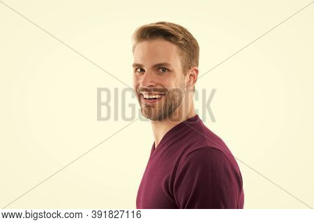 Happy And Confident Man. Your Own Stylist. Dressed In Jumper Isolated On White. Male Beauty Portrait