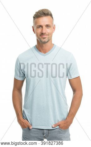 Man Model Clothes Shop. Menswear And Fashionable Clothing. Man Calm Face Posing Confidently White Ba