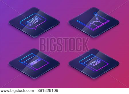 Set Isometric Line Human Brain, Triangle Math, Sigma Symbol And Test Or Exam Sheet And Pen. Blue Squ