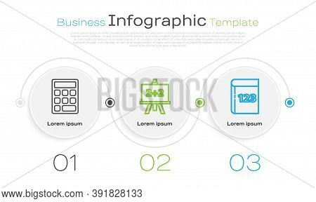 Set Line Triangle Math, Calculator And Test Or Exam Sheet And Pen. Business Infographic Template. Ve