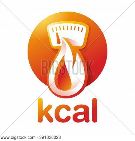 Kcal Icon (calories Sign) Combination Of Flame (fat Burning) And Weight Scales Dial - Isolated Vecto