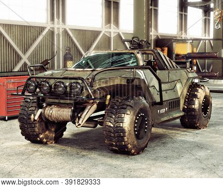 Weaponized Off Road Combat Vehicle Stored Inside An Industrial Hangar. 3d Rendering