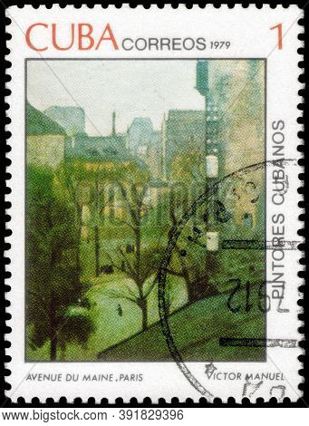 Saint Petersburg, Russia - September 18, 2020: Postage Stamp Issued In The Cuba The Image Of The Ave