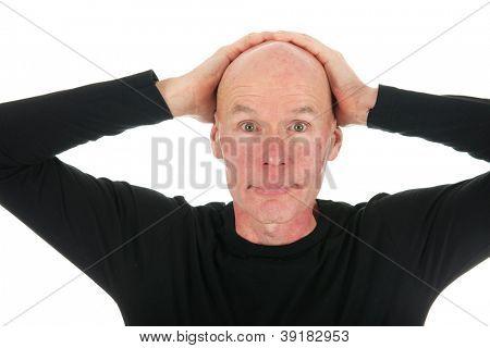 Portrait adult bald man with black shirt in studio poster