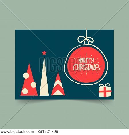 Christmas Card 2021 Set, Vintage Christmas Elements, Christmas And Happy New Year Templates. Trendy
