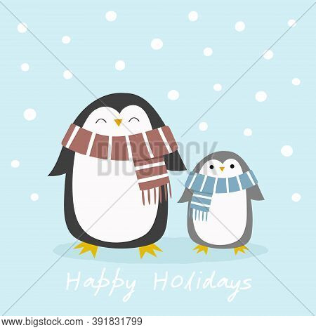 Adult And Baby Penguin In Winter Scarves With A Snowy Background. Hand Drawn Creative Vector Illustr