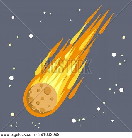 Meteor With Trail Of Fire. Dangerous Space Object. Big Asteroid. Comet With Tail. Celestial Object.