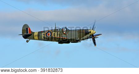 Ickwell, Bedfordshire, England - September 06, 2020:vintage Supermarine Spitfire Mk Vc G-aw11 Ar501