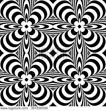Abstract Seamless Op Art Black And White Pattern. Vector Illustration.