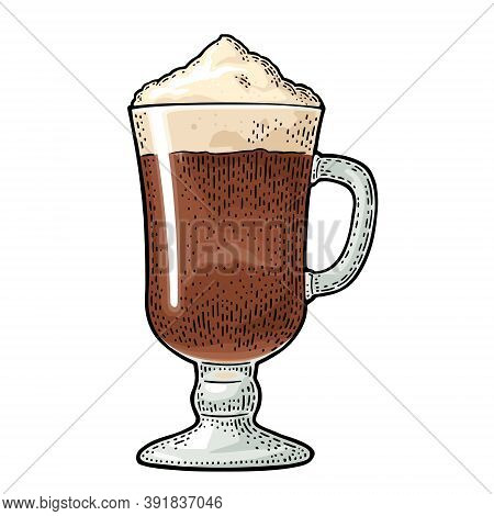 Glass Of Latte Macchiato Coffee With Whipped Cream. Hand Drawn Sketch Style. Vintage Color Vector En