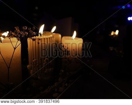 Atmospheric Table Decoration With Candlelights At A Marriage