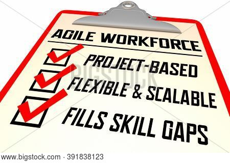 Agile Workforce Checklist Scalable Flexible Skills Employees 3d Illustration