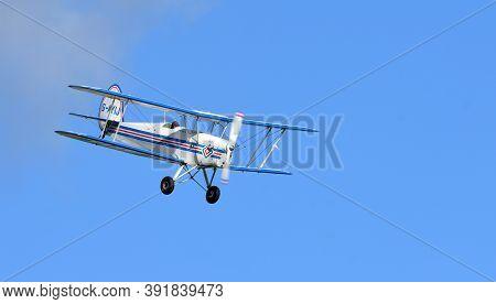 Ickwell, Bedfordshire, England - September 06, 2020 -  Vintage  Sncan Stampe - Vertongen Sv-4 Biplan