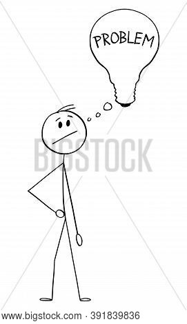 Cartoon Stick Figure Drawing Conceptual Illustration Of Man, Businessman Or Innovator With Thinking