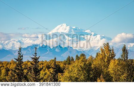 Panoramic View Of Denali Mountain Peak At Summer In Alaska