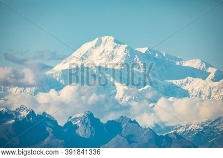 Closeup Scenic View Of Denali Mountain Peak At Summer In Alaska
