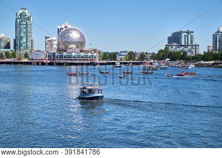 Vancouver, British Columbia, Canada - June 24, 2017. Vancouver Dragon Boat Races False Creek. Dragon