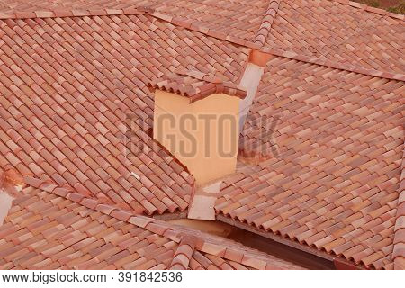 Bricks And Roof Tiles, Villa Roof In Close Up