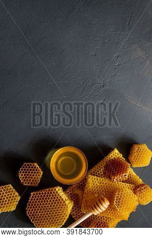 Healthy Thick Honey Dipping From The Wooden Honey Spoon, Bee Products By Organic Natural Ingredients