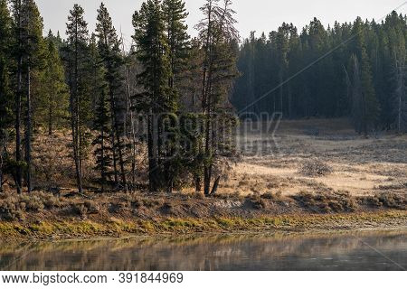 Sunrise Along The Banks Of The Yellowstone River In Yellowstone National Park Wyoming