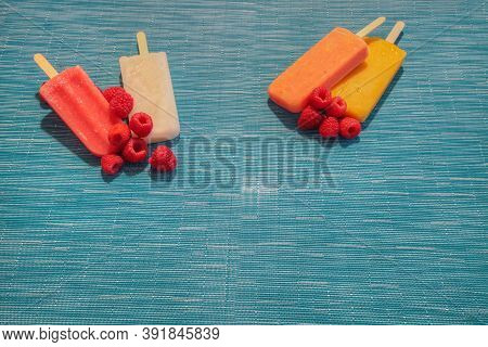Fruit Popsicles On An Aqua Blue Background In Summer Including Watermelon Popsicle, Tropical Fruit P