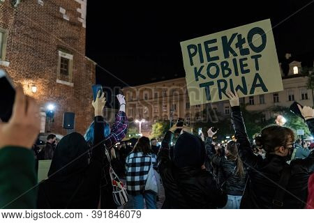 Krakow, Poland - October 24, 2020: Polish People On Nationwide Protest Against New Almost Complete B