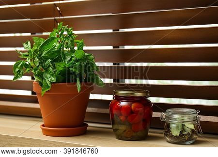 Green Basil, Pickled Tomatoes And Spices On Window Sill Indoors