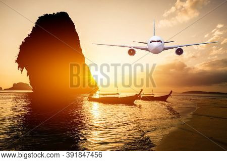 Front Of Real Plane Aircraft, On Sunset In Railay Beach,thailand Background