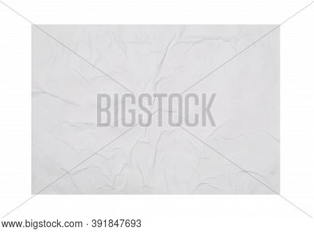 Top View Of Creased Blank Poster On White Background