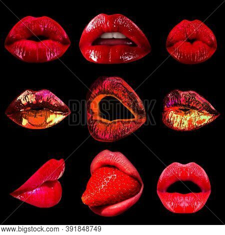 Collage Sexy Seduction Woman Mouth, Passion Lick And Sensual Suck. Set Of Lips Seduction Temptation