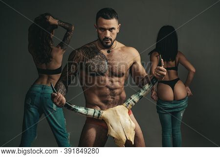 Sexy Man. Lover Guy So Tempting And Seductive, Provocative And Horny. Woman Undressed