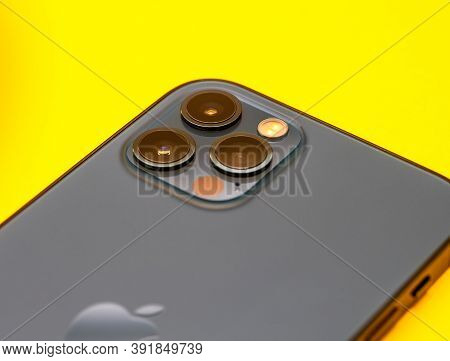Paris, France - Oct 23, 2020: Macro Shot Of Lidar Sensor And Triple Cameras On New Iphone 12 Pro Max
