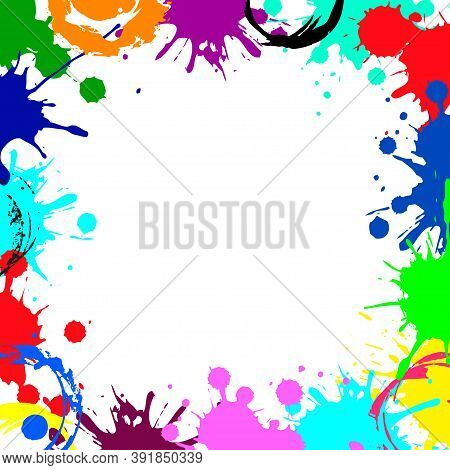 Vector Abstract Empty Frame From Color Ink Blobs. Colorful Ink Abstract Frame Background. Grunge Spl