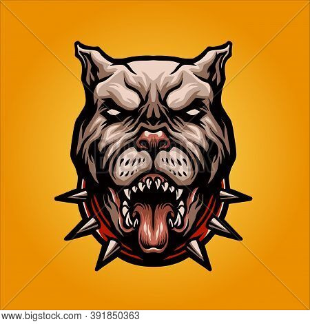 Angry Dog Pitbull Logo Mascot Vector Illustrations For Your Work Merchandise Clothing Line, Stickers