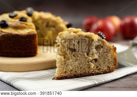 Slice Of Apple Cinnamon Cake Or Bread With Dried Cranberries