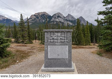 Alberta, Canada - Oct 10 2020 : Monument Of Ex Coelis Mountain. A Memorial Stone To Honor The 1st Ca