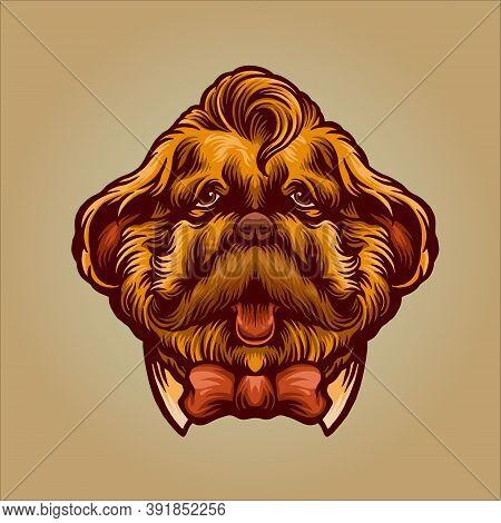 Funny Dog Gentleman Mascot Character Vector Illustrations